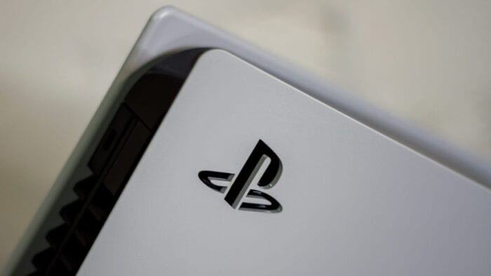 A close up of the PlayStation logo on the PS5