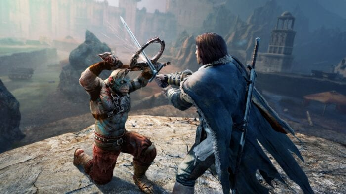 Game character from shadow of mordor carrying weapon