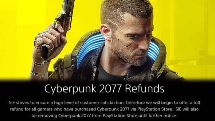 An image showing the boxart protagonist of Cyberpunk 2077 and the start of a quote from the PlayStation website about the game becoming delisted