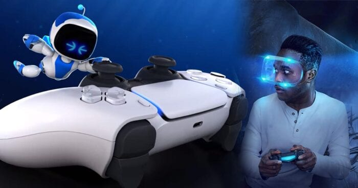 Splitscreen of PSVR headset and Astros Playroom