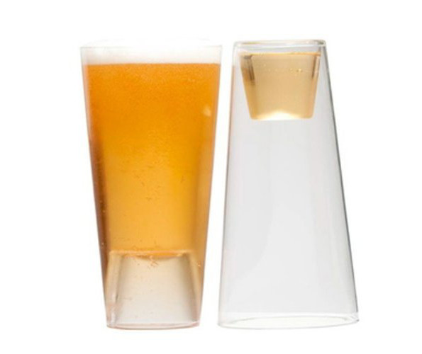 A Beer And Shot Glass In One!