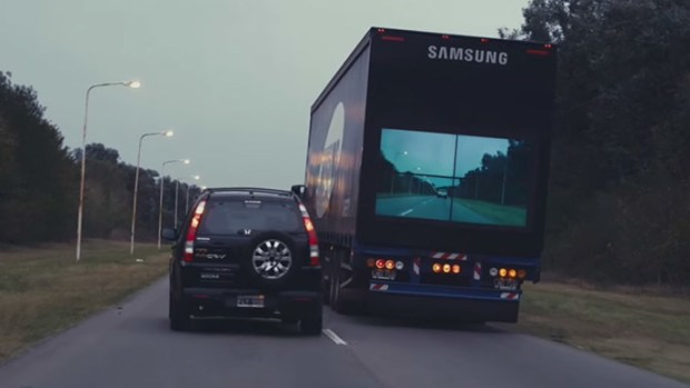 Samsung Safety Truck Are Equipped With Back Screens