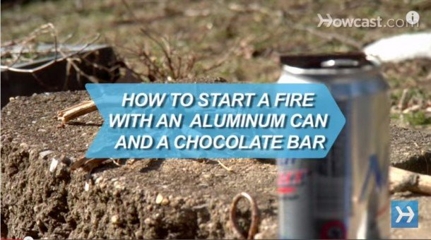 How-to-Start-a-Fire-with-an-Aluminum-Can-a-Chocolate-Bar--610x340