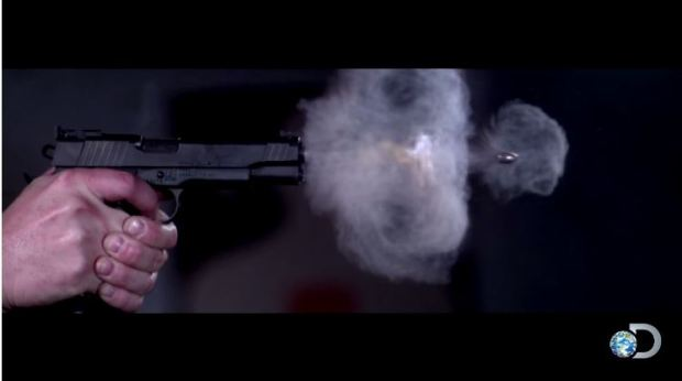 Super Slow Motion Video of a Pistol Being Fired Recorded at 73000