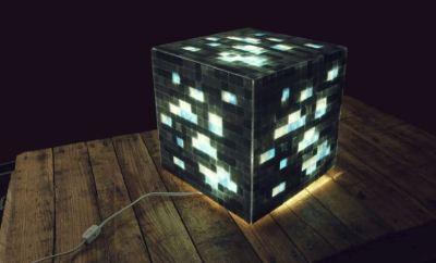 DIY Mosaic Minecraft Lamp