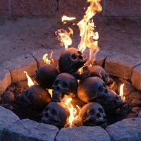 Ultimately Creepy Gas Fireplace With Fireproof Human Skulls