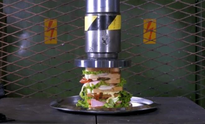 Crushing a Huge Stacked Sandwich With a Hydraulic Press