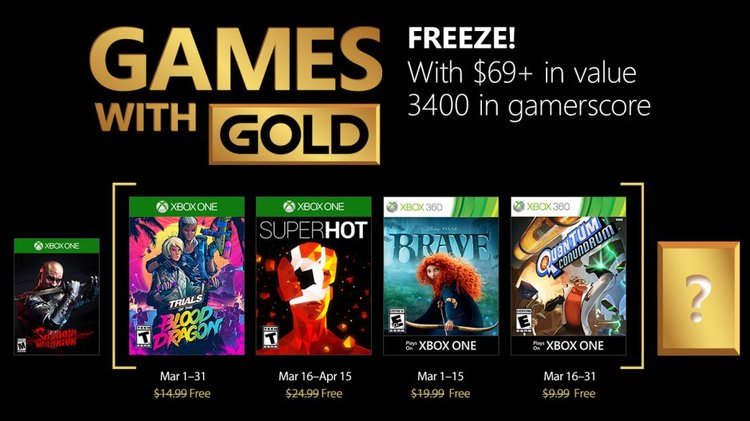 Check Out The Xbox Games With Gold For March 2018