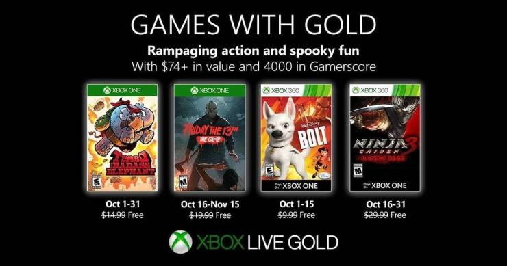 Games With Gold - Octubre 2019