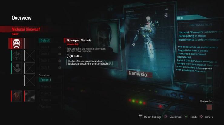 Nemesis Resident Evil Resistance