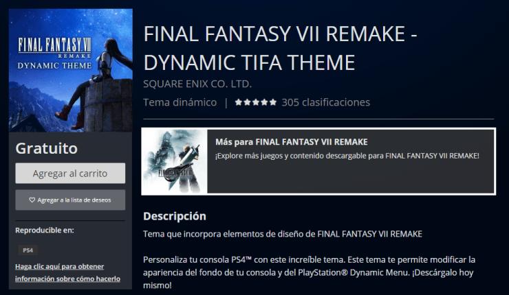 Final Fantasy VII Remake tema Tifa gratis