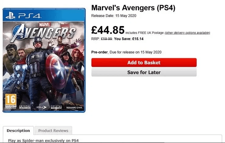 "Marvel's Avengers: ""juega como Spider-Man exclusivamente en PS4""."