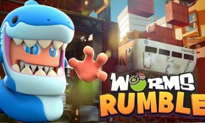 Worms Rumble nuevo mapa diciembre Dock tiburón