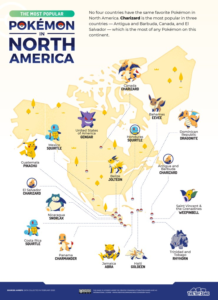 pokémon populares norteamérica centroamérica