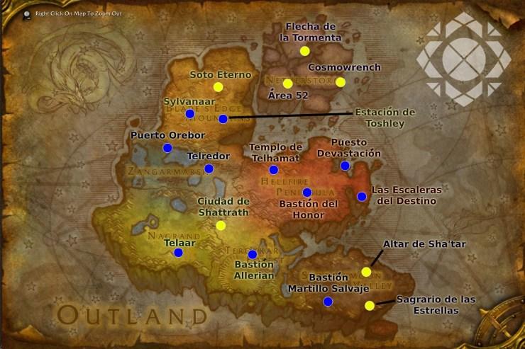 Mapa de puntos de vuelo aptos para jugadores de la Horda en Wow Classic TBC en Terrallende.