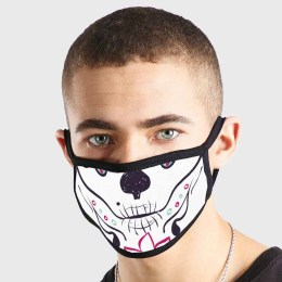 Day Of The Dead Black Pink Non Medical 3 Ply Face Mask
