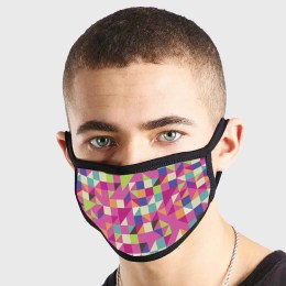 Pattern Abstract Art Colourful Triangles Non Medical 3 Ply Face Mask