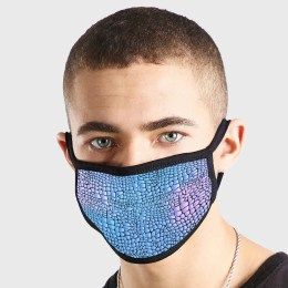 Pattern Animal Leather Blue Non Medical 3 Ply Face Mask