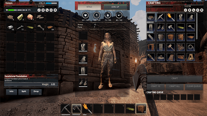 Conan Exiles Character Screen and Inventory