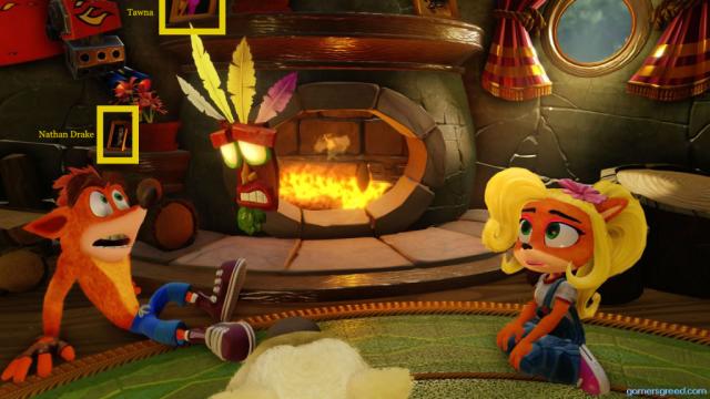 Crash Bandicoot N Sane Trilogy Crash Coco Aku-Aku Fireplace, Nathan Drake and Tawna reference