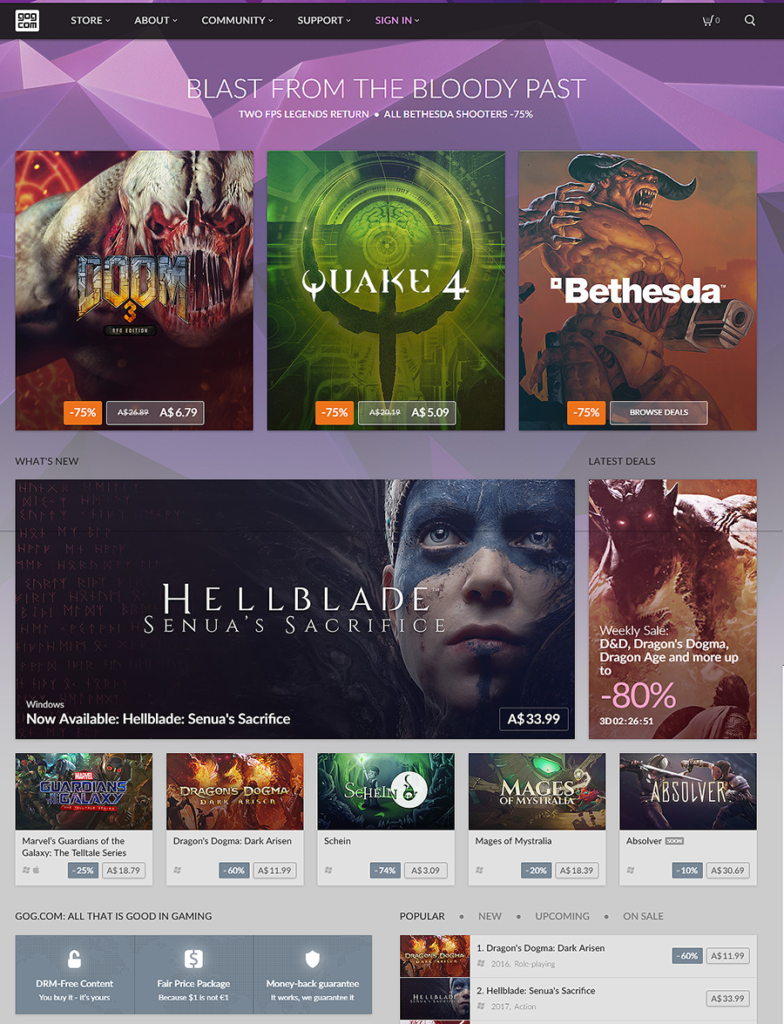 GOG.com front page screenshot pc game sales