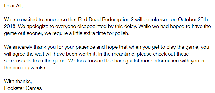 Red Dead Redemption 2 Rockstar Games delay article