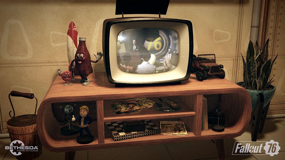 Fallout 76 trailer screenshot base building tv set