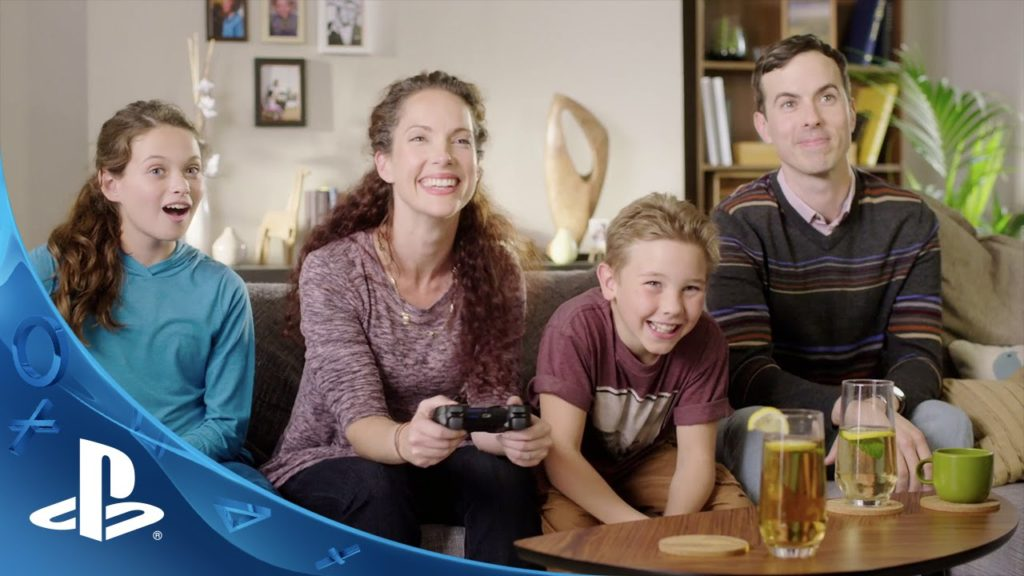 Family playing PS4 games for kids