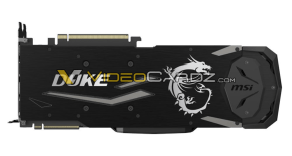 This image shows the MSI GeForce RTX 2080 Ti DUKE from the back which shows the backplate.