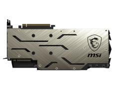 This image shows the MSI GeForce RTX 2080 Ti GAMING X TRIO graphics card from the back where you can see its backplate.