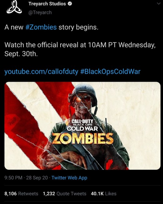 Official Treyarch Studios Twitter Account Pinned Post