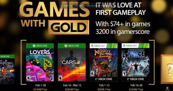 Revelados Games With Gold de Febrero 2017