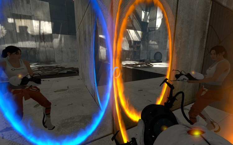 portal 2 gaming couple