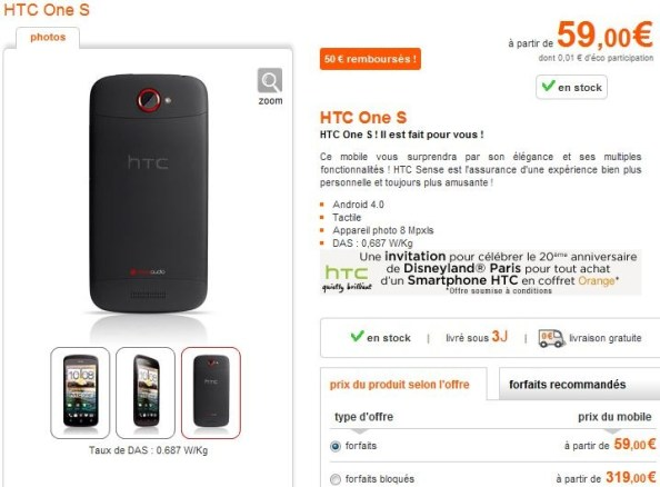 HTC-One-S-Orange Orange: Pour l'achat d'un HTC un pass Disney offert