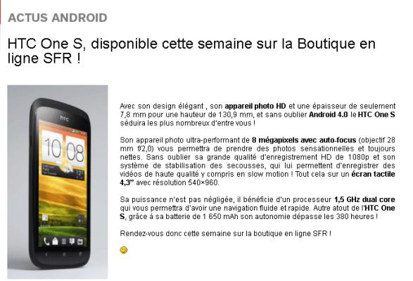 screenshot.604 SFR: Le HTC One S sera dispo dès le 24 avril