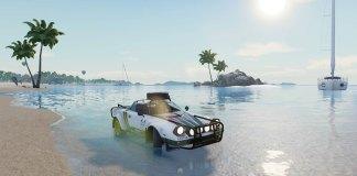 Voiture de rallye en bord de mer, photo