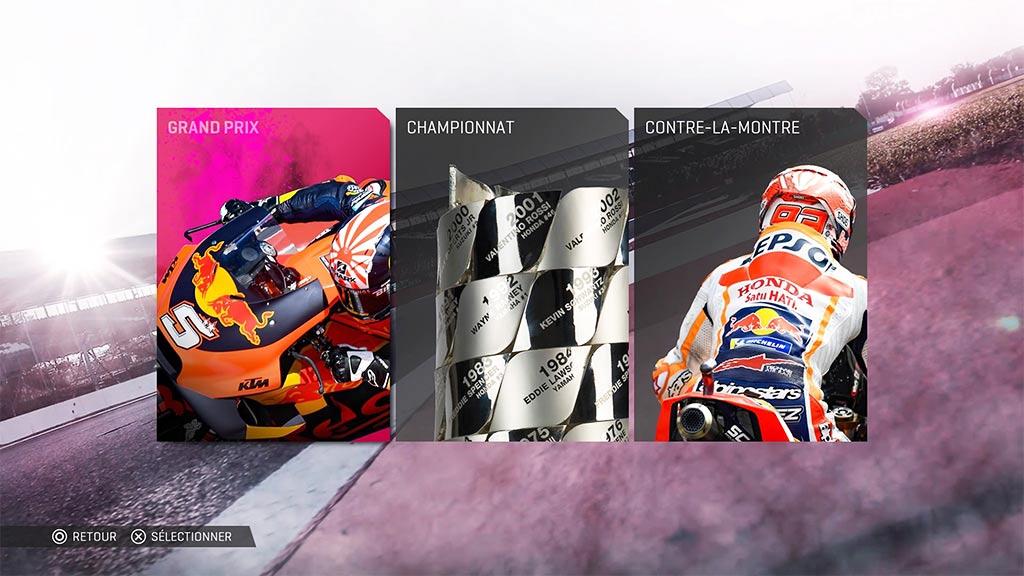 MotoGPMenuCourseRapid-1024x576 Mon avis sur Moto GP 19 - Faisons brûler la gomme !