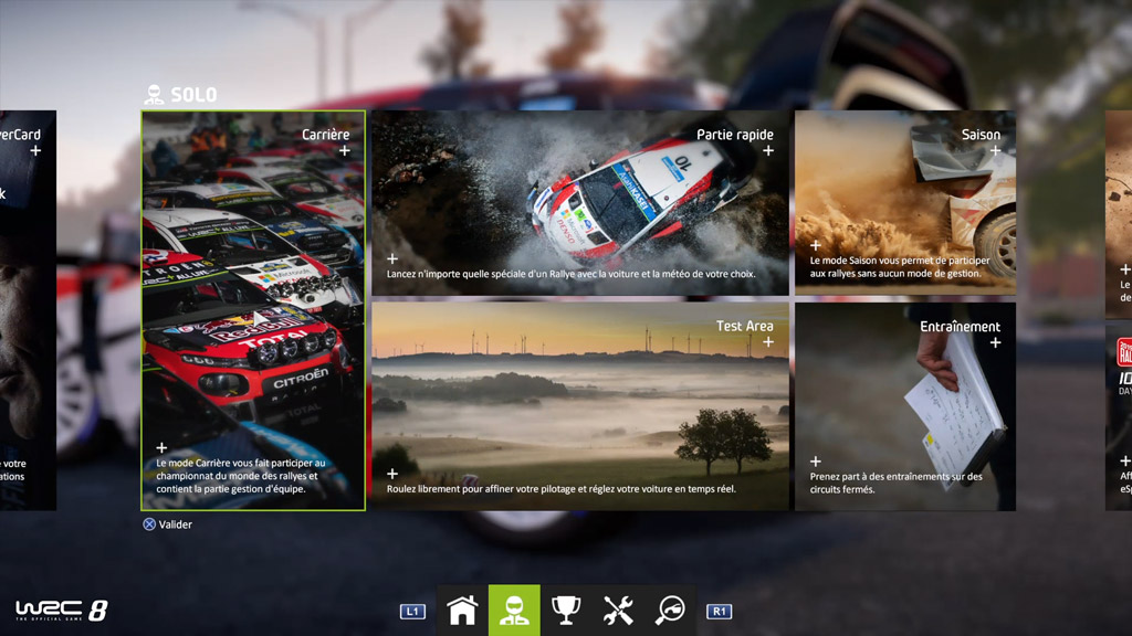 menu_accueil_solo-1024x576 Mon avis sur WRC 8 – Le challenger est là !