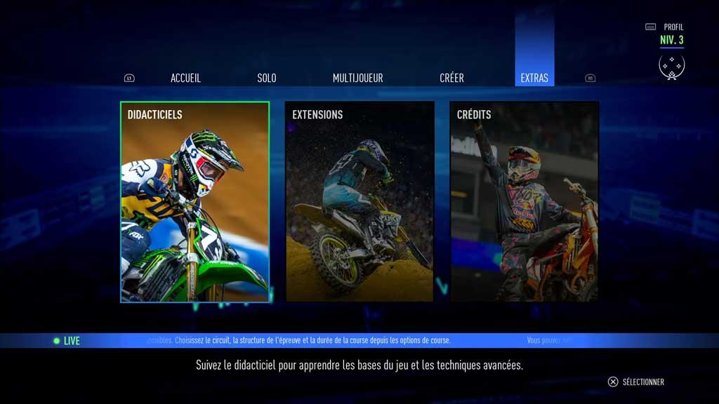 Menu_IV_accueil Mon avis sur Monster Energy Supercross 3 - Attention à la chute !