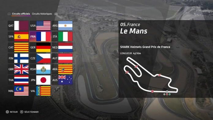 Menu_circuits_MotoGP20 Mon avis sur Moto GP20 - Wheeling power !