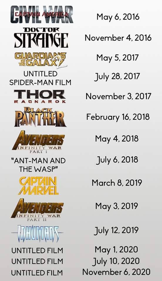 calendario marvel