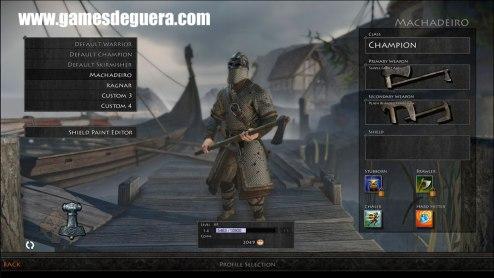 Tela de customização de guerreiro em War of the Vikings