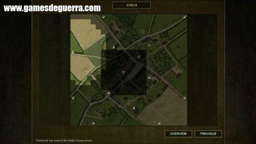 Visão estratégica do mapa antes da batalha.