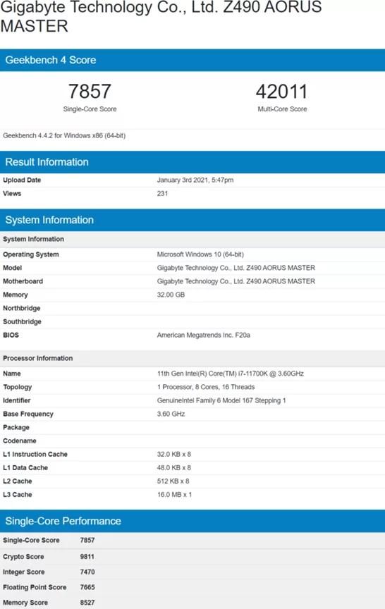 Intel Core i7-11700K Tolok Ukur