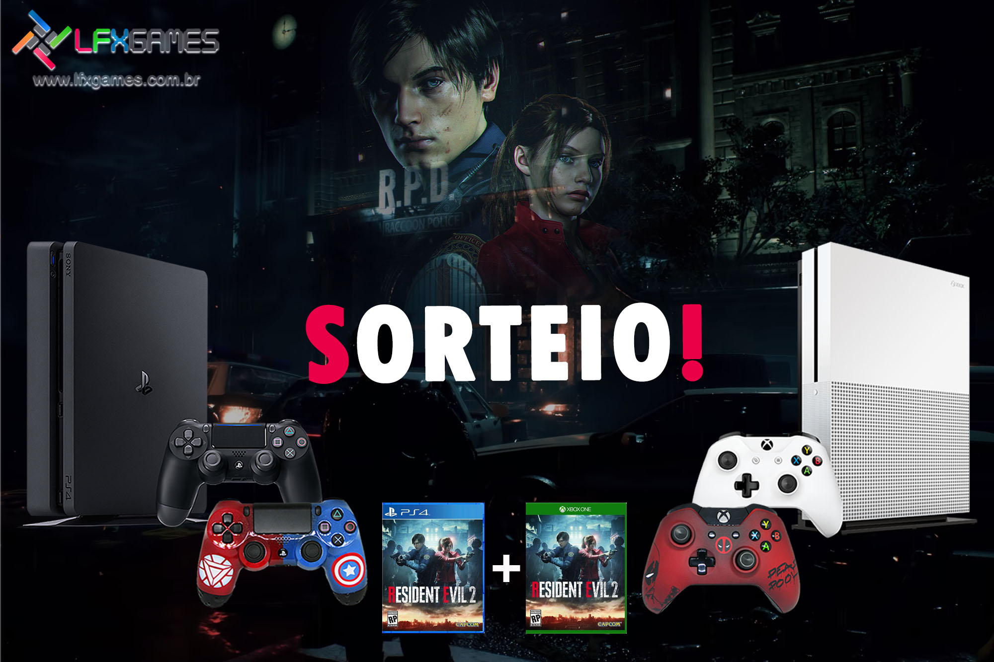 Sorteio PlayStation 4 + Xbox One S + Resident Evil 2 Remake