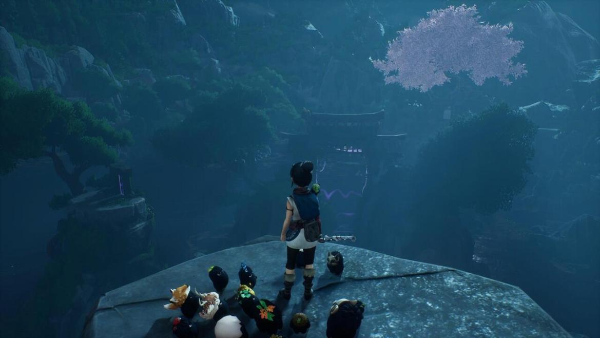 From this spot in front of the big gate on the Warrior's Path, look left to the cliff face to spot some rocks you can levitate with a bomb. They're set into the wall.