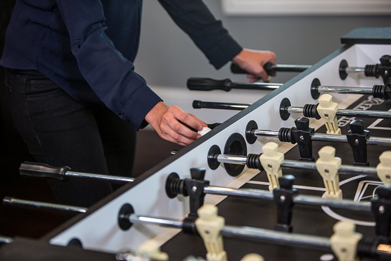 serving hole on Atomic foosball table