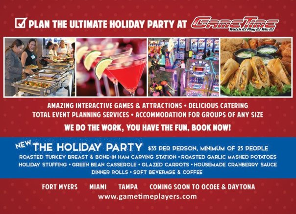 Book Holiday Party at GameTime Miami Tampa Fort Myers Ocoee Daytona