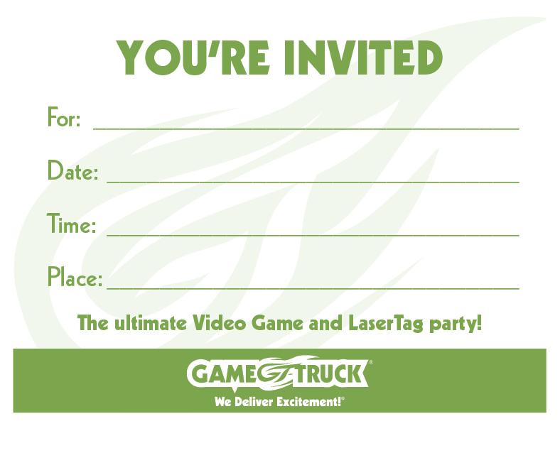 custom printable invitations gametruck