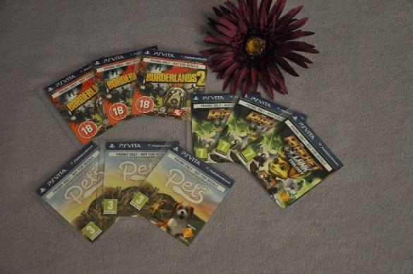 je 3x die PS Vita Spiele Borderlands 2 (nur für Volljährige!), Vita Pets (Download) und Ratchet & Clank Trilogy (Download)